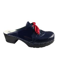 I would totally wear these to work!!  Dark Blue Fanny Clog by Troentorp on #zulily