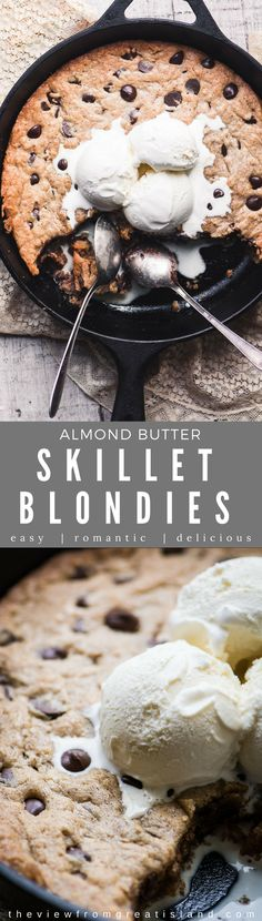 Almond Butter Skillet Blondies