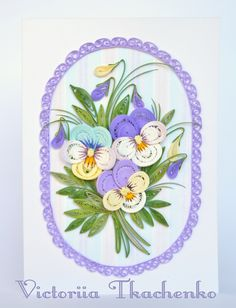 Quilling Card with gentle spring pansies - Birthday quilling Card - Love quilling card - Spring flowers