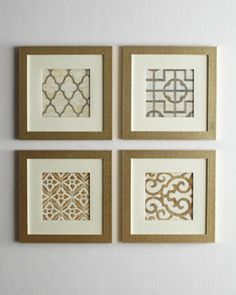H5G21 Geometric Prints @ Horchow  looks easy enough for DIY