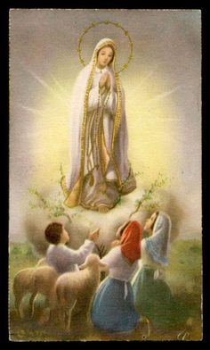 OUR LADY OF FATIMA & BLESSED SHEPHERDS Vtg 1950 HOLY CARD
