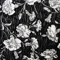 William Morris-ish black and white carnation print fabric from ebay
