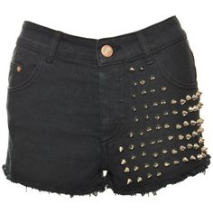 Glamorous Black Della Studded Shorts (53 AUD) ❤ liked on Polyvore featuring shorts, bottoms, pants, short, short shorts and studded shorts