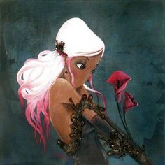 girl with white hair fantasy lilies fine art oil painting beautiful pretty woman feather gloves