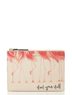 """""""Strut Your Stuff"""" Flamingo Pouch in Soft Rosette Vinyl with Leather Trim   Kate Spade New York"""