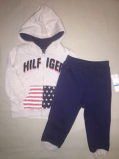 BOYS 24  MONTHS TOMMY HILFIGER HOODIE SWEAT PANTS SET OUTFIT NWT