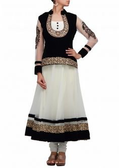 White anarkali dress with black velvet top in pita embroidery  by B91 Exclusive