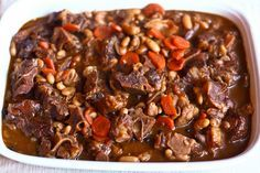 Jamaican Oxtail Stew....the first time I tried this recipe, I ended up eating all by myself because it was that good.....:-))