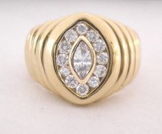 Man's Diamond Ring 1 ct Total Marquise & Rounds Bezel & Channel Set in 14K Gold
