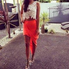 asymmetrical skirt + crop top <3 <3  Beautiful Womens Fashion
