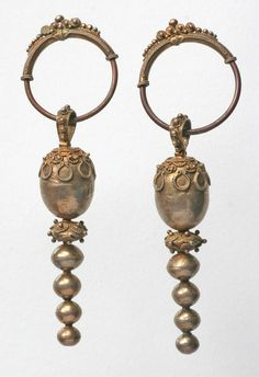 Ancient Jewelry Earrings Indonesia Sumatra Karo Batak
