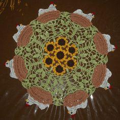 Crochet Chicken  Hen on Nest and Sunflower Doily Pattern by vjf25, $5.95