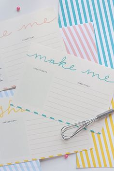 Free Printable Recipe Cards. These are so pretty. From Design Eat Repeat