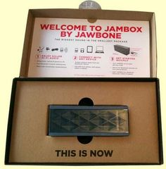 Jambox package, revealing the welcome instructions