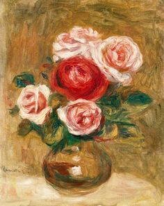 Pierre-Auguste Renoir | Roses in a pot - Pierre-Auguste Renoir as art print or hand painted ...
