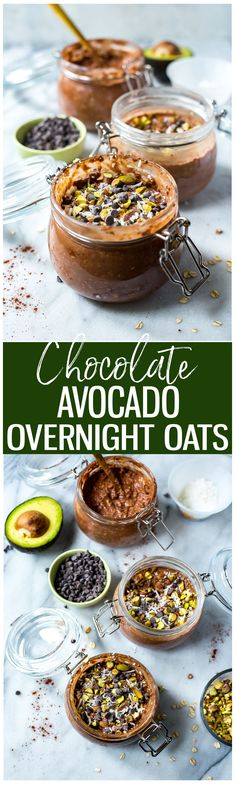 These Chocolate Avocado Overnight Oats Jars are so delicious and easy, you'll think that you're eating dessert for breakfast! Make these ahead of time for a quick and easy breakfast on the go!