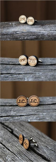 These rustic men's cufflinks are personalized with your favorite initials or monogram. A great gift for the discerning man in your life for graduation, an anniversary, or really any special occasion. Makes a fantastic gift for groomsmen too!  | Made on Hatch.co by independent designers and makers.