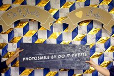 Hey - theses are our wedding colors! Maybe we can make this look like modern azulejos... (DIY photobooth)