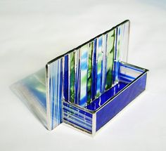 Stained Glass Business Card Holder Cobalt Blue by GaleazGlass, $34.00
