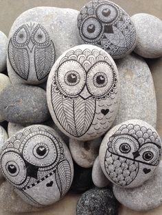 Owl hand painted rock from The Beach - Toronto