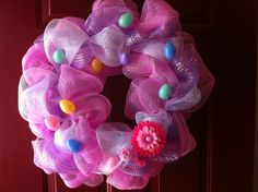 Easter Deco Mesh Wreath by CreationsByPaige on Etsy. , via Etsy.