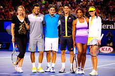 Victoria Azarenka, Jo-Wilfried Tsonga, Roger Federer, Novak Djokovic, Serena Williams and Ana Ivanovic pose for a photo after the Rod Laver Arena Spectacular.