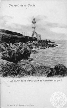 Crete. Le phare de la Canee (vue de l' enterieur du port).