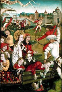 Martyrium der Hl. Ursula und der elftausend Jungfrauen 1480-1490; Wien; Österreich; Österreichische Galerie http://tarvos.imareal.oeaw.ac.at/server/images/7001207.JPG