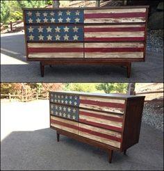 Vintage American Flag Dresser in Bonney Lake, WA (sells for $230)