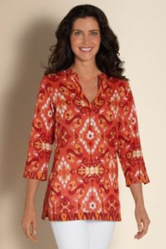 Solano Top - Jeweled Top, Ikat Print Top,  Top With Sequins | Soft Surroundings