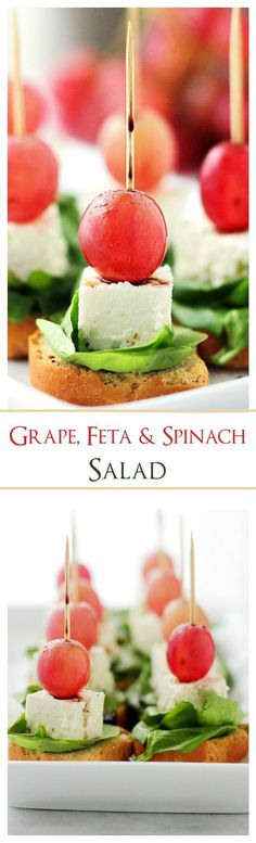 Macedonian-Style Grape Caprese Salad | www.diethood.com | Light, fresh appetizer-salad made with red grapes, feta and spinach set atop slices of garlic toast.