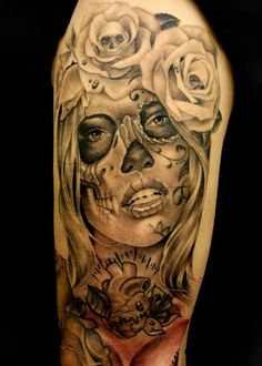 Sugar skull black grey tattoo roses sleeve