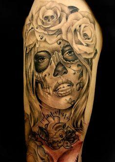 Sugar skull black grey tattoo roses sleeve