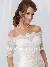 2014 New Fashion Half Sleeve Off the Shoulder Bridal Wedding Bolero Lace Jacket Beading Back Customize Cape Shawl(China (Mainland))