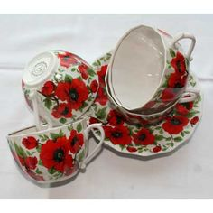 "Verbilki Porcelain ""poppies"" Set    FromRussia.com"