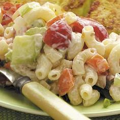 Fast Macaroni Salad Recipe -Frankiee Bush from Freedom, Indiana shares the recipe for this refreshing and creamy pasta salad. Chopped veggies give it crunch, and cherry tomatoes add vibrant color. Creamy Pasta Salads, Pasta Salad Recipes, Macaroni Salads, Great Recipes, Favorite Recipes, Cooking Recipes, Healthy Recipes, Cooking Tips, Yummy Food
