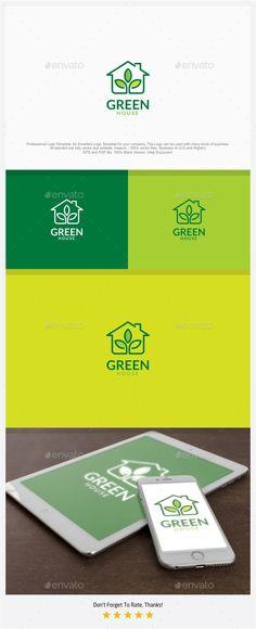 Green House Logo Template PSD, Vector EPS, AI Illustrator