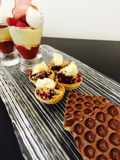 Rhubarb fool, blackberry and apple crumble tartlets, milk chocolate shortbread