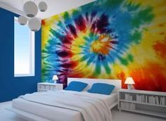Thinking about painting my room? Just hinting. This is what I was thinking. Bedroom Color Schemes, Bedroom Colors, Colour Schemes, Bedroom Decor, Bedroom Ideas, Tie Dye Bedroom, Tie Dye Bedding, Bedroom Wallpaper Murals, Paint My Room
