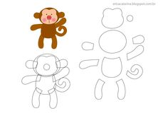 Friends of the Felt: Erica Catarina Safari Template Applique Templates, Applique Patterns, Felt Templates, Felt Diy, Felt Crafts, Erica Catarina, Sewing Crafts, Sewing Projects, Monkey Pattern
