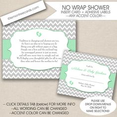 NO WRAP baby shower insert card and gift label by lemontreecards Baby Shower Poems, Baby