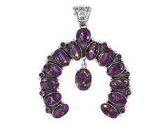 Southwest Style By Jtv(Tm) Oval And Round Cabochon Purple Turquoise Si