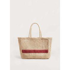 MANGO Jute basket bag (280 PLN) via Polyvore featuring bags, handbags, woven purse, woven bag, mango handbags, woven handbags i jute handbags