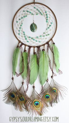 Green and Brown Dream Catcher with an Agate Pendant, Peridot, Amazonite, Lace, Goose Feathers, and Cruelty Free Peacock Feathers