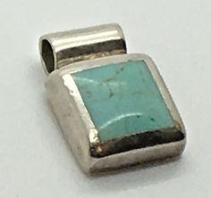 Sterling Silver Turquoise Slider Pendant ATI Mexico Square Designer Signed 925  #ATI