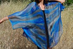 Blue and gray silk garment plus size hand by SilkArtbyLiene, $186.00