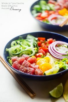 Citrus Tuna Ceviche Bowls - These whole30 compliant bowls are loaded with fresh veggies, zucchini noodles and creamy avocado dressing! They're an easy, healthy and gluten free, no-cook summer meal! | Foodfaithfitness.com | @FoodFaithFit