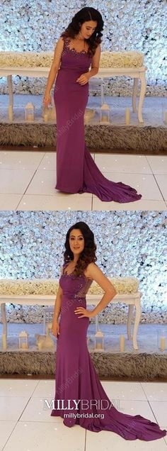 Purple Prom Dresses Long, Mermaid Formal Evening Dresses Lace, Chiffon Wedding Party Dresses For Teens, Sparkly Pageant Graduation Party Dresses Beading Sparkly Prom Dresses, Prom Dresses For Teens, Elegant Prom Dresses, Formal Dresses For Women, Mermaid Prom Dresses, Trendy Dresses, Dress Prom, Long Dresses, Dress Long