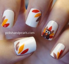 Thanksgiving nails :) Turkey face and turkey tails