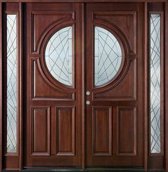 Front Door Custom - Double with 2 Sidelites - Solid Wood with Dark Mahogany Finish, Modern, Model DB-785 DD 2SL CST